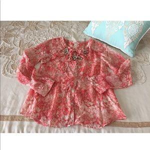 Sundance Catalog L silk blouse top floral pink